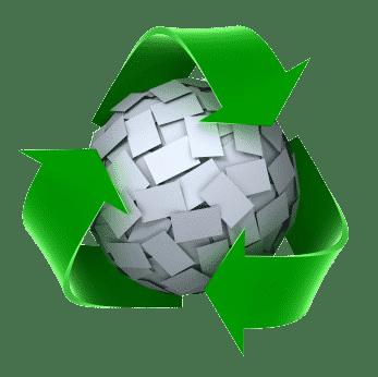 כדור מפיסות נייר וסביבו סמל מיחזור
