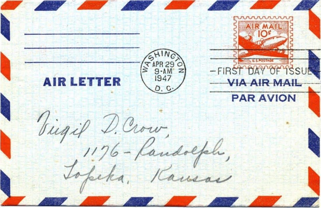 מכתב שנשלח בדואר אויר