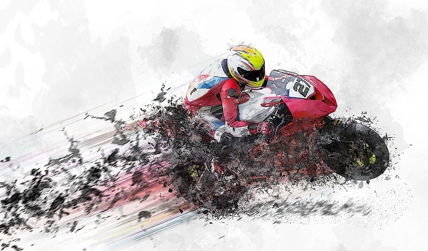 איור של אופנוע נוסע מהר