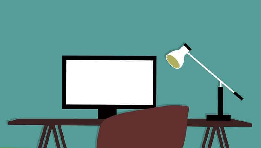איור של מחשב ושולחן עבודה