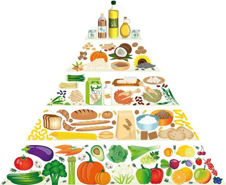 פירמידת אוכל בריא - איור