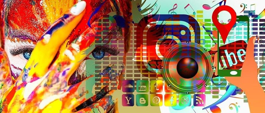 תמונת אוירה צבעונית של מדיה חברתית