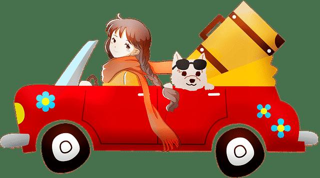 אנימציה של ילדה על רכב אדום